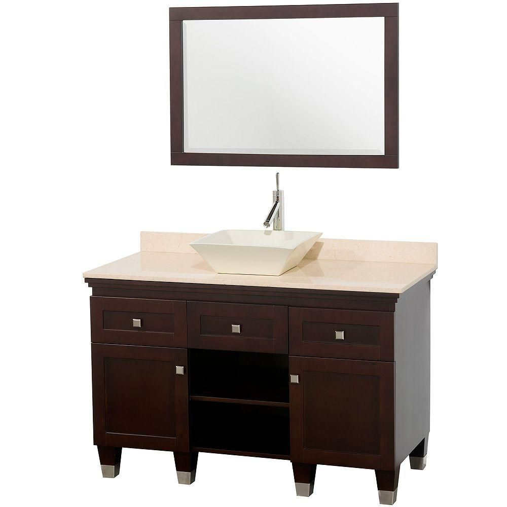 Premiere 48-inch W Vanity in Espresso with Marble Top in Ivory, Bone Porcelain Sink and Mirror