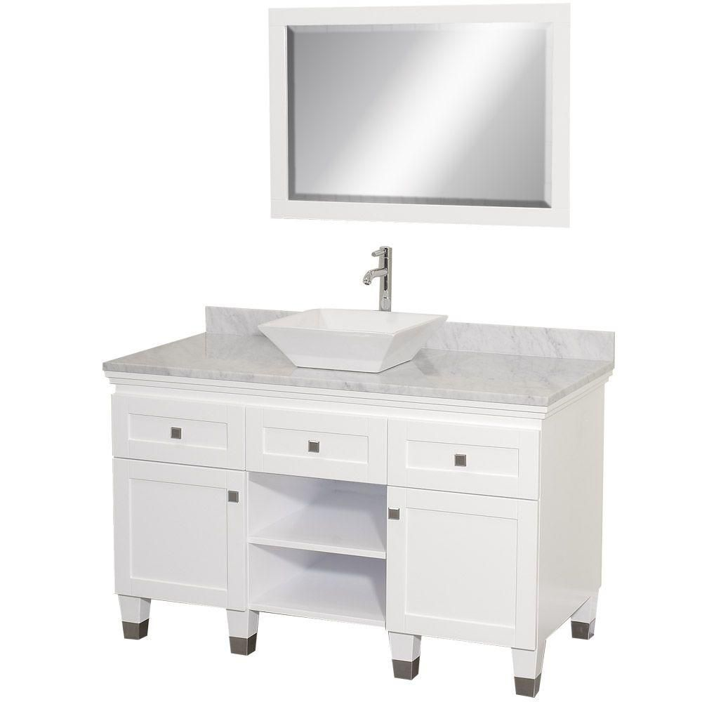 Premiere 48-inch W Vanity in White with Marble Top, White Porcelain Sink and Mirror