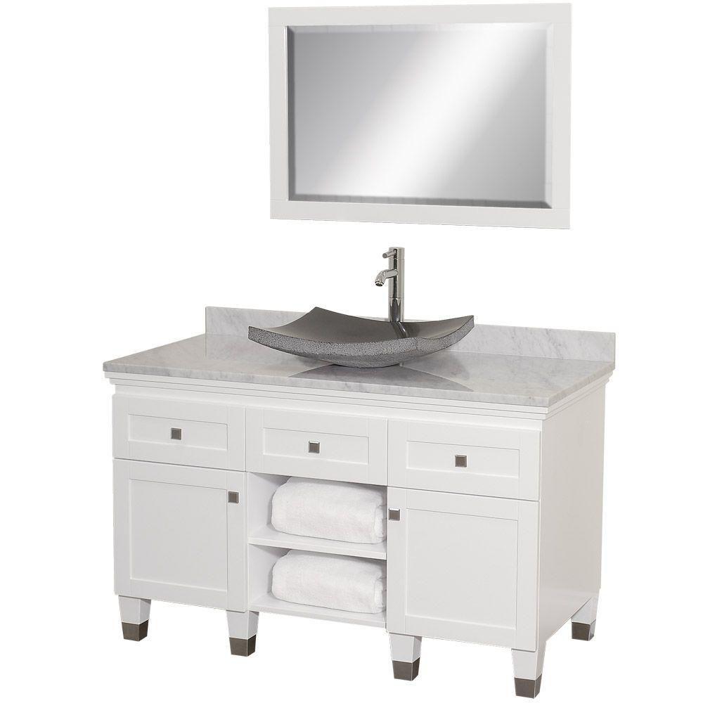 Premiere 48 po Meuble blanc avec revêtement en marbre blanc Carrare et miroir
