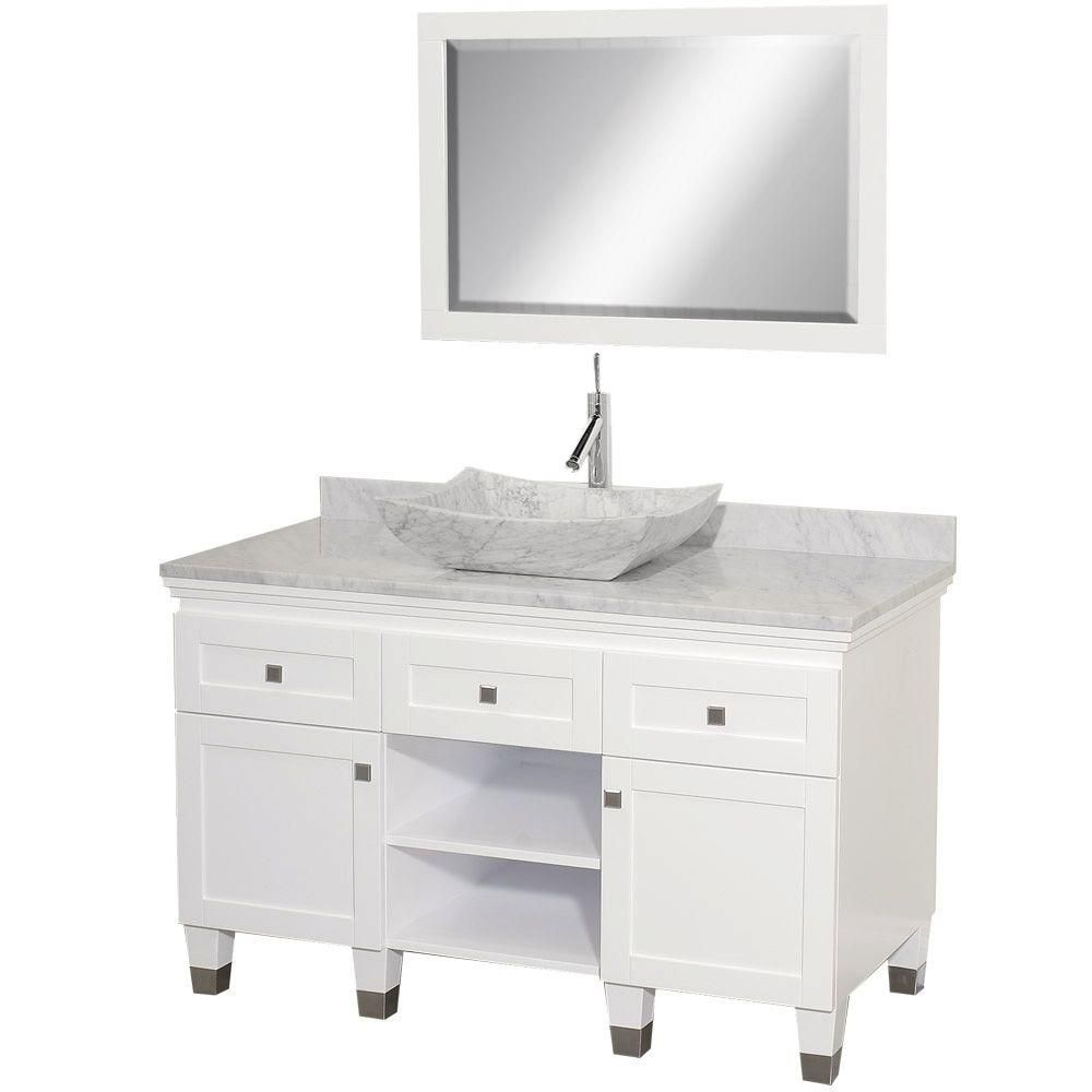 Premiere 48-inch W Vanity in White with Marble Top in Carrara White, Sink and Mirror