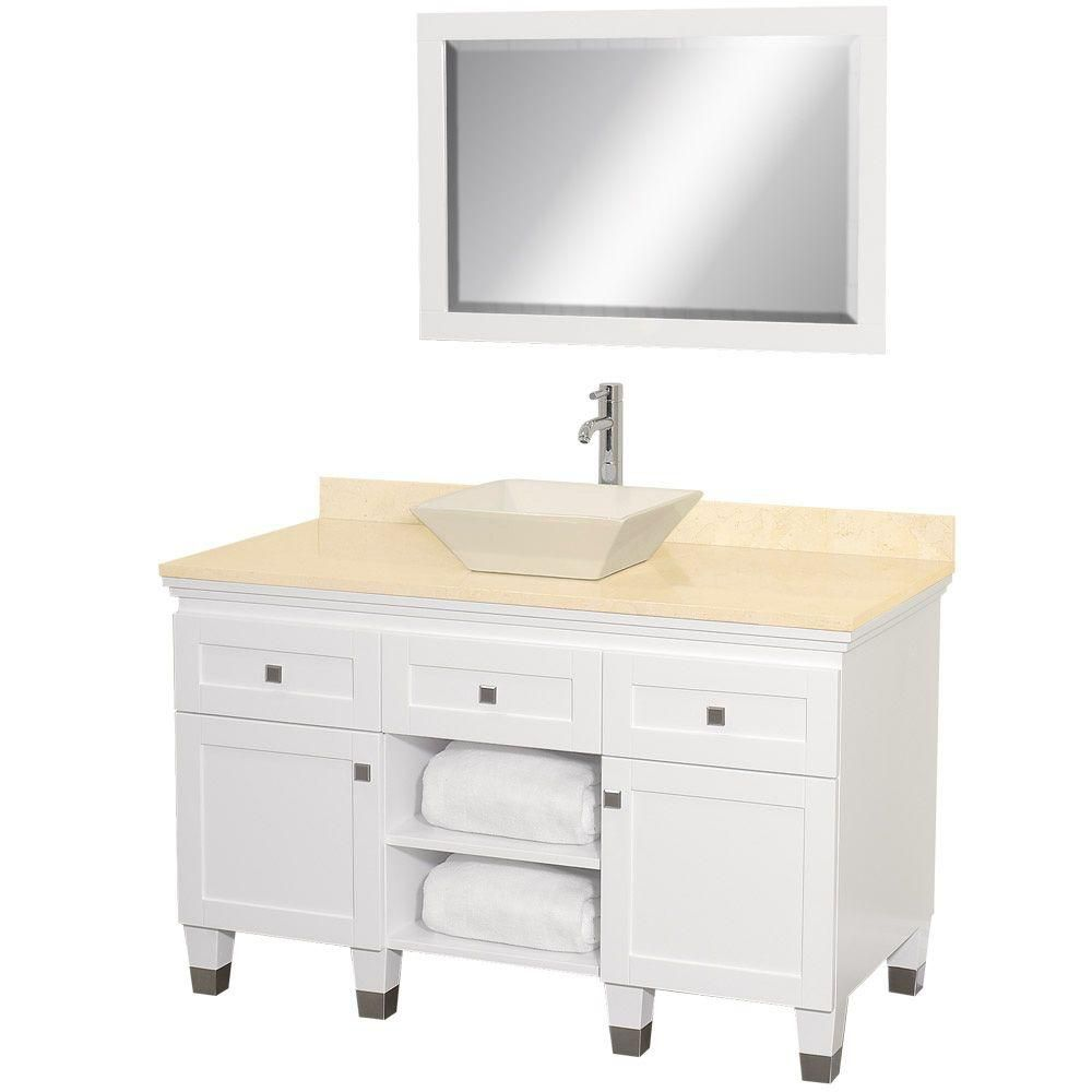 Premiere 48-inch W Vanity in White with Marble Top in Ivory, Bone Porcelain Sink and Mirror