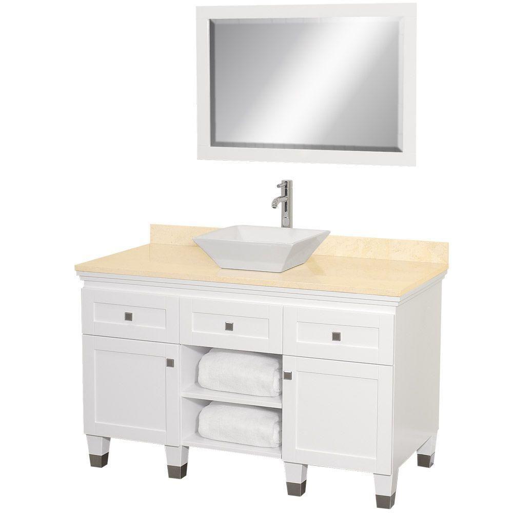 Premiere 48 po Meuble blanc et revêtement en marbre ivoire, évier en porcelaine blanche et miroir