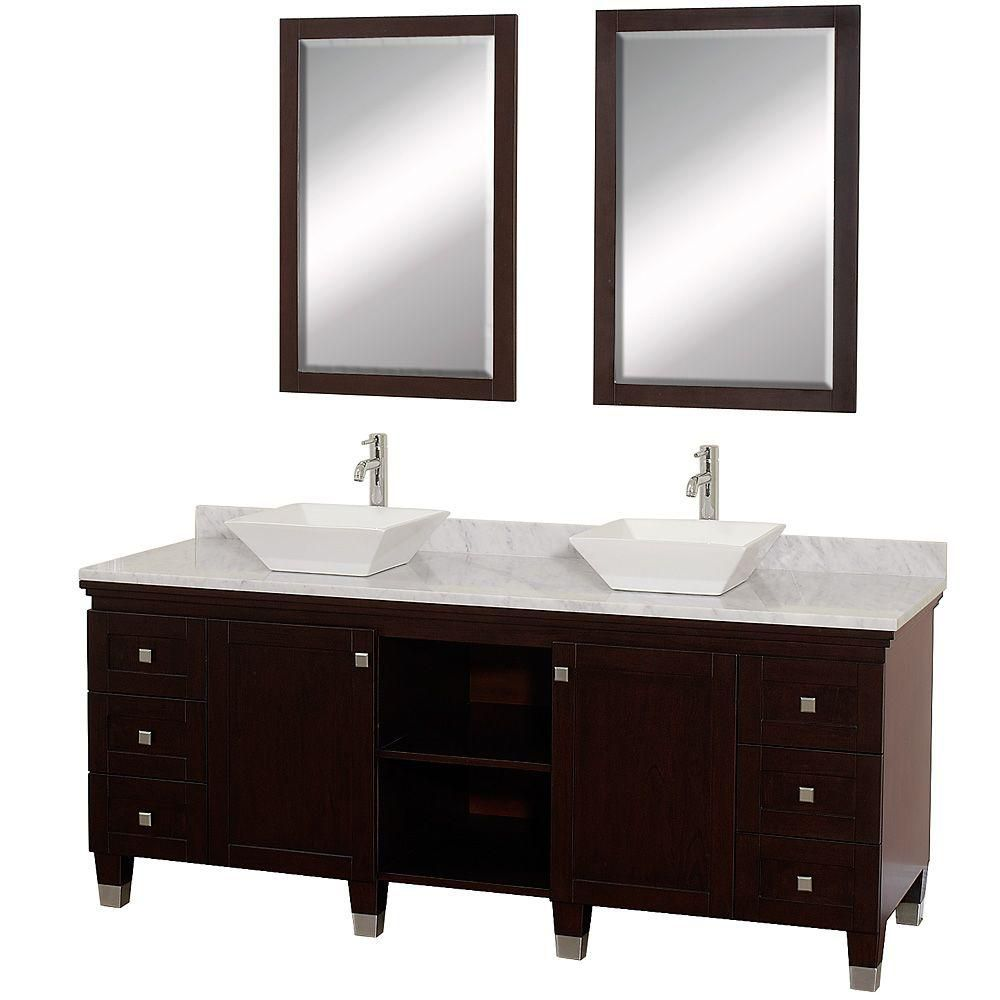 Premiere 72-inch W Vanity in Espresso with Marble Top in Carrara White, White Sinks and Mirrors
