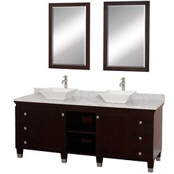 Wyndham Collection Premiere 72-inch W 6-Drawer 2-Door Vanity in Brown With Marble Top in White, 2 Basins With Mirror