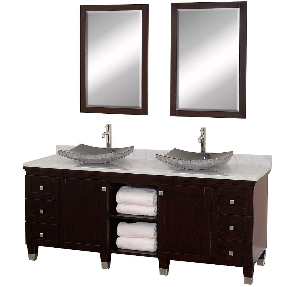 Premiere 72-inch W Vanity in Espresso with Marble Top in Carrara White, Black Sinks and Mirrors