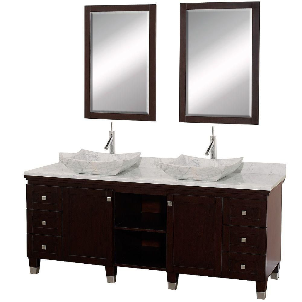 Premiere 72-inch W Vanity in Espresso with Marble Top in Carrara White, Sinks and Mirrors