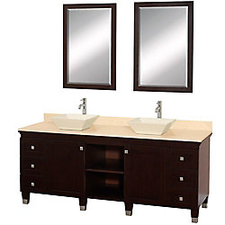 Wyndham Collection Premiere 72-inch W 6-Drawer 2-Door Vanity in Brown With Marble Top in Beige Tan, Double Basins