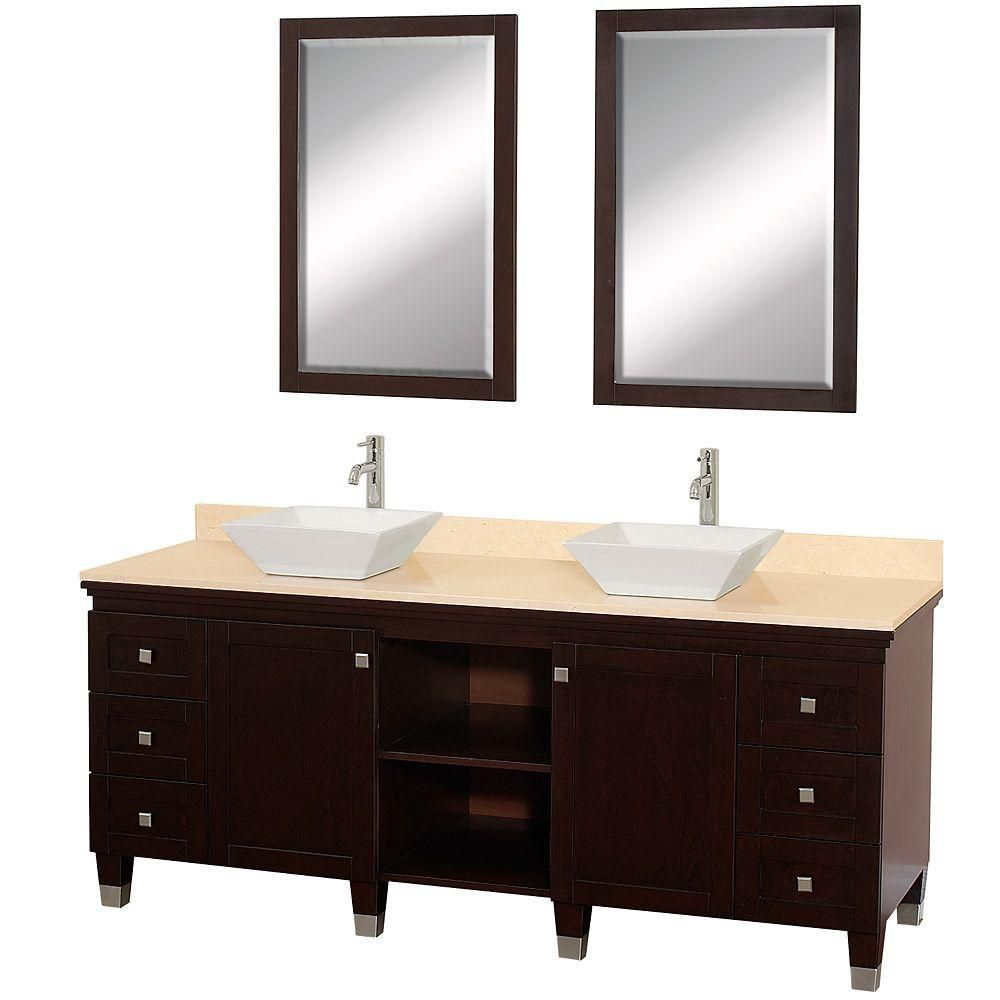 Premiere 72-inch W Vanity in Espresso with Marble Top in Ivory, White Porcelain Sinks and Mirrors