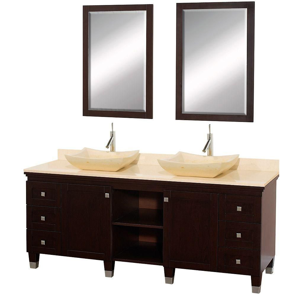 Premiere 72-inch W Vanity in Espresso with Marble Top in Ivory, Ivory Sinks and Mirrors