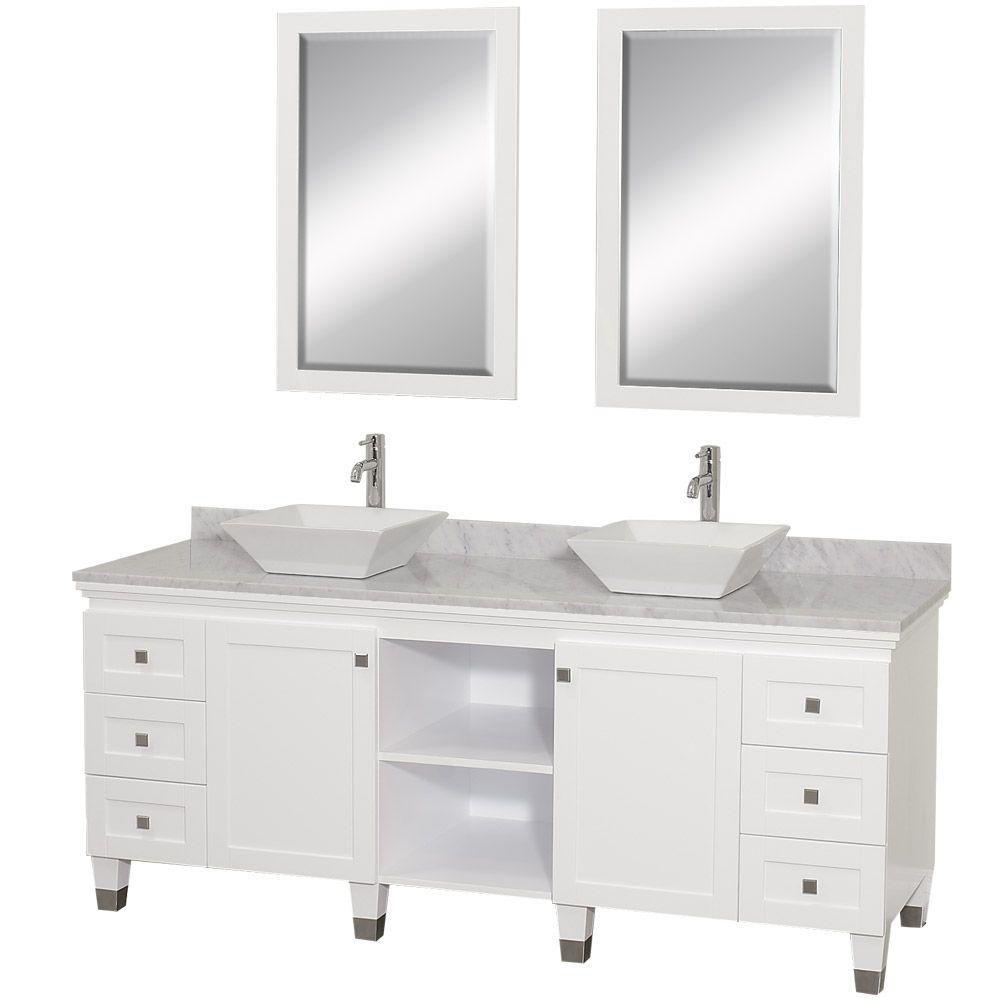 Premiere 72 po Meuble blanc avec revêtement en marbre blanc Carrare , éviers blanc et miroir