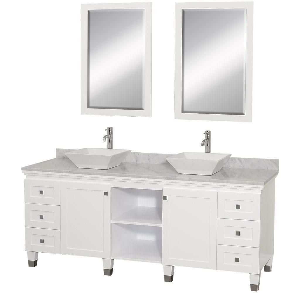 Premiere 72-inch W Vanity in White with Marble Top in Carrara White, White Sinks and Mirrors