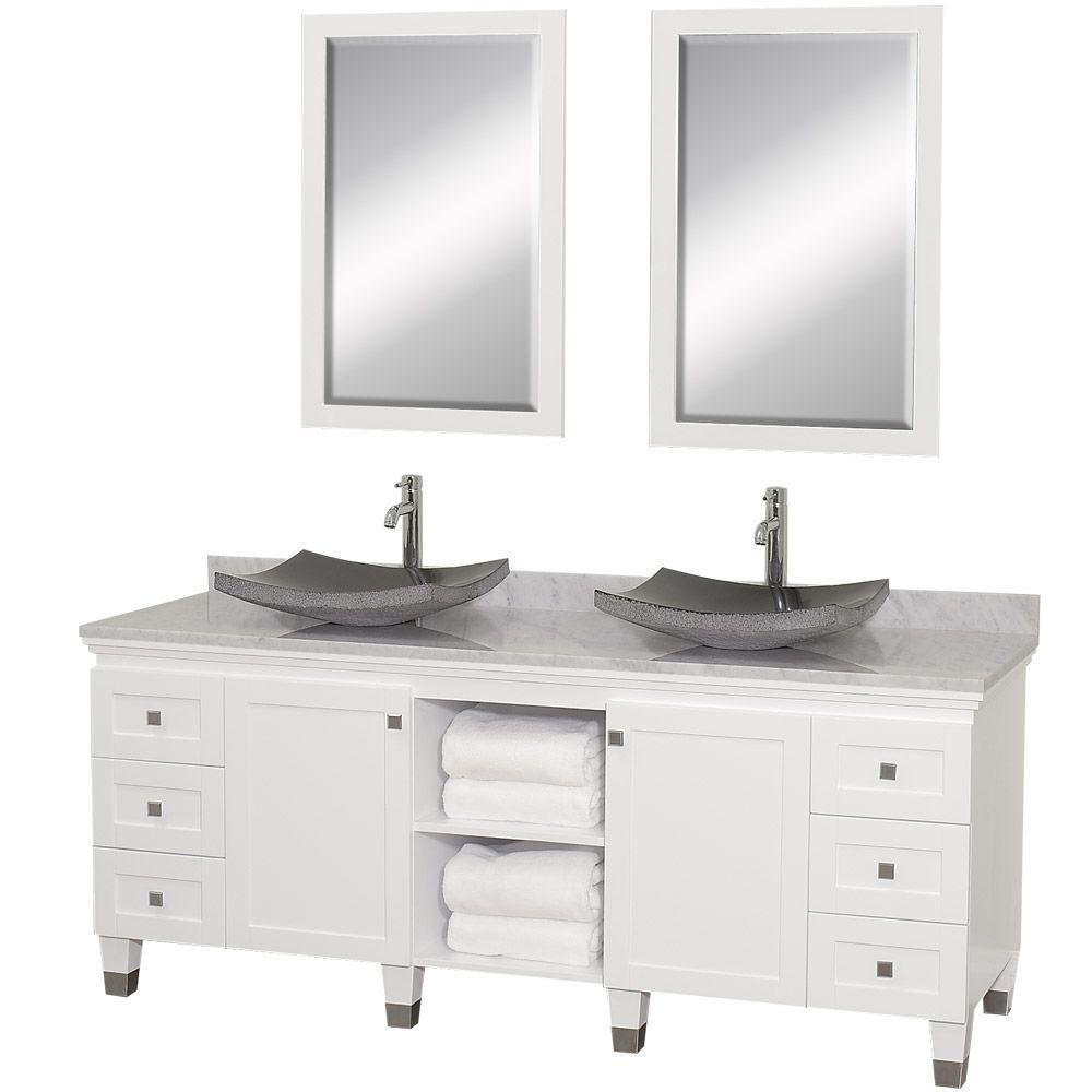 Premiere 72-inch W Vanity in White with Marble Top in Carrara White with Granite Sinks and Mirror...