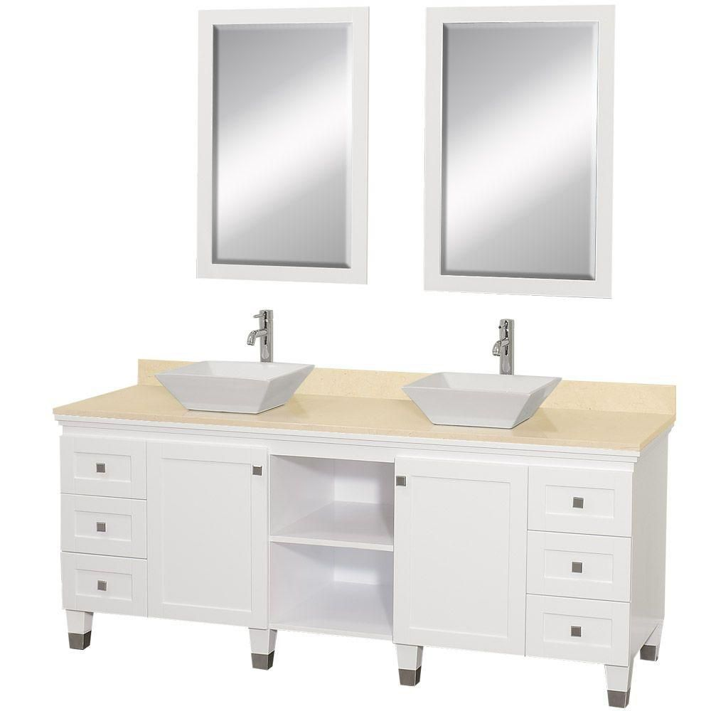 Premiere 72-inch W Vanity in White with Marble Top in Ivory, White Porcelain Sinks and Mirrors