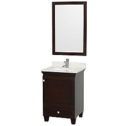 Wyndham Collection Acclaim 24-inch W 1-Drawer 1-Door Freestanding Vanity in Brown With Marble Top in White With Mirror