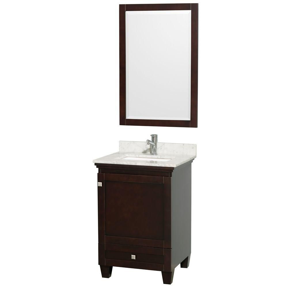 Acclaim Vanity in Espresso with Top in Carrara White, Square Sink and Mirror