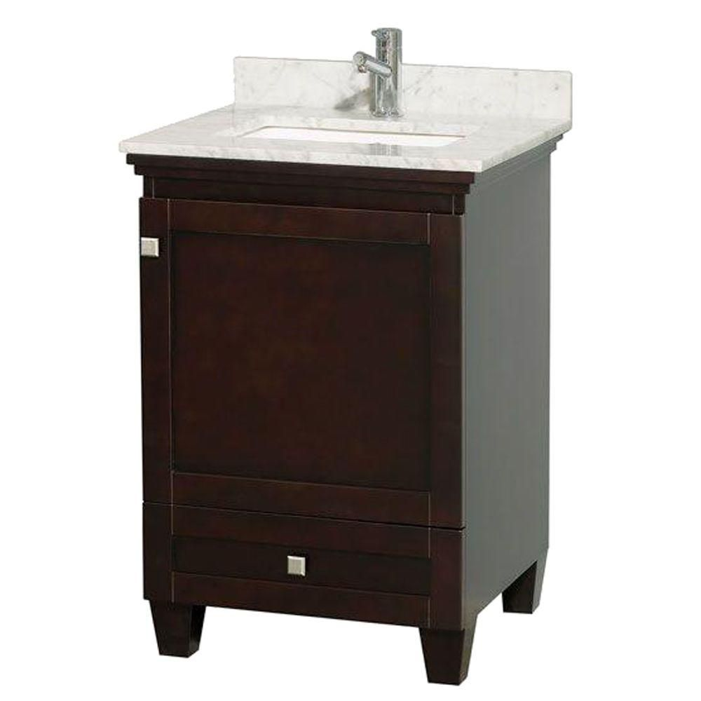 Acclaim Vanity in Espresso Finish with Top in Carrara White and Square Sink