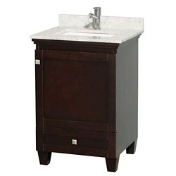 Wyndham Collection Acclaim 24-inch W 1-Drawer 1-Door Freestanding Vanity in Brown With Marble Top in White