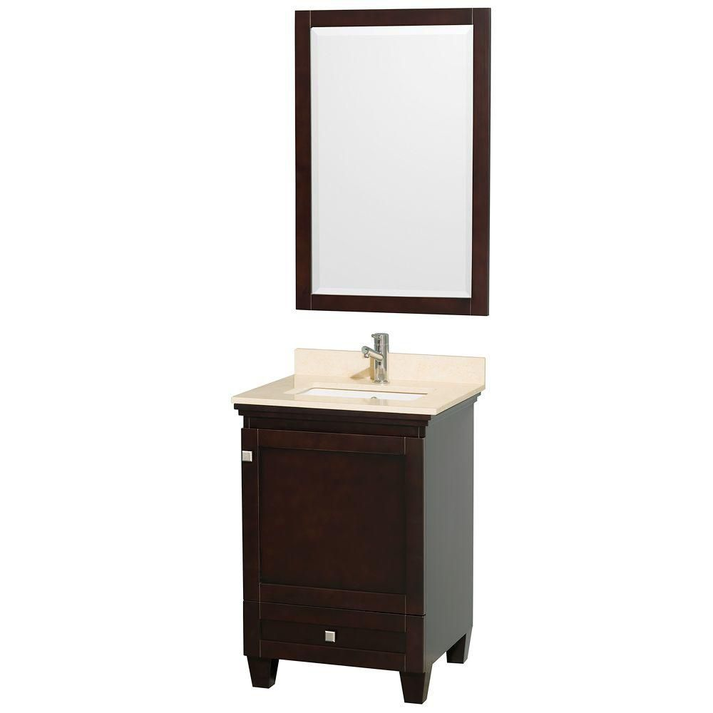 Wyndham Collection Acclaim 24-inch W 1-Drawer 1-Door Vanity in Brown With Marble Top in Beige Tan With Mirror