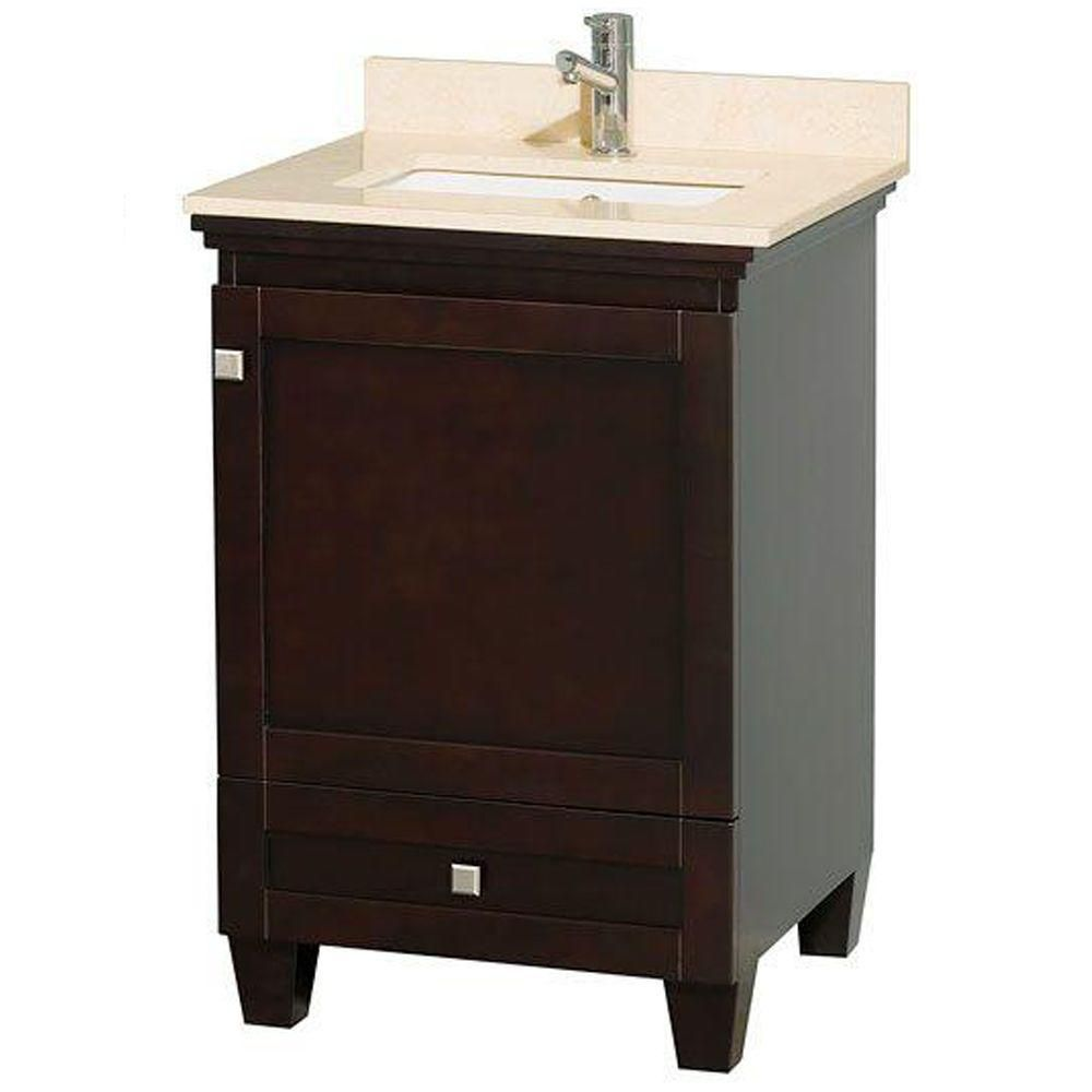 Acclaim 24-inch W 1-Drawer 1-Door Freestanding Vanity in Brown With Marble Top in Beige Tan