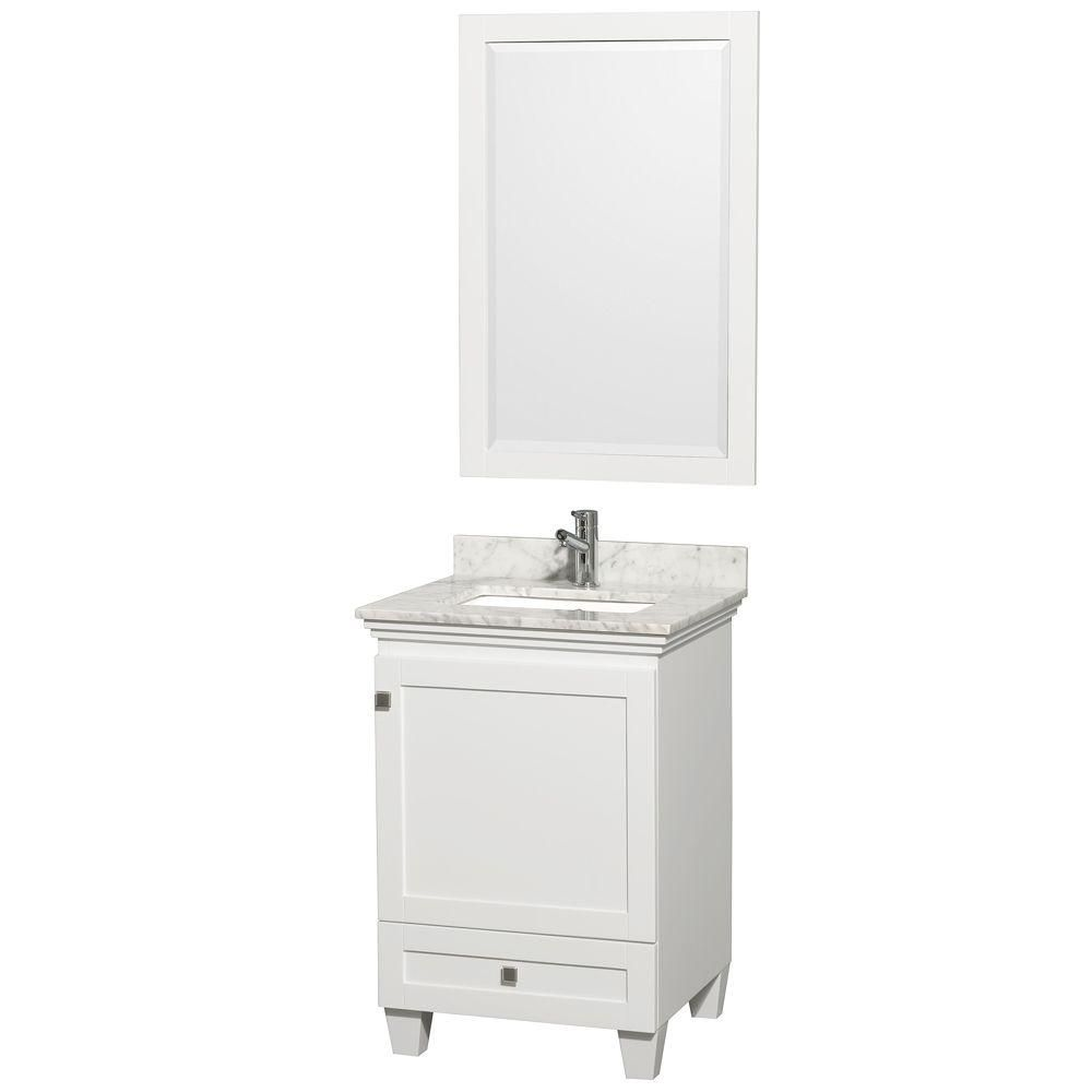 Wyndham Collection Acclaim 24-inch W 1-Drawer 1-Door Freestanding Vanity in White With Marble Top in White With Mirror