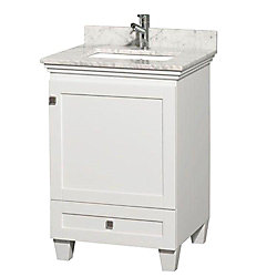 Wyndham Collection Acclaim 24-inch W 1-Drawer 1-Door Freestanding Vanity in White With Marble Top in White