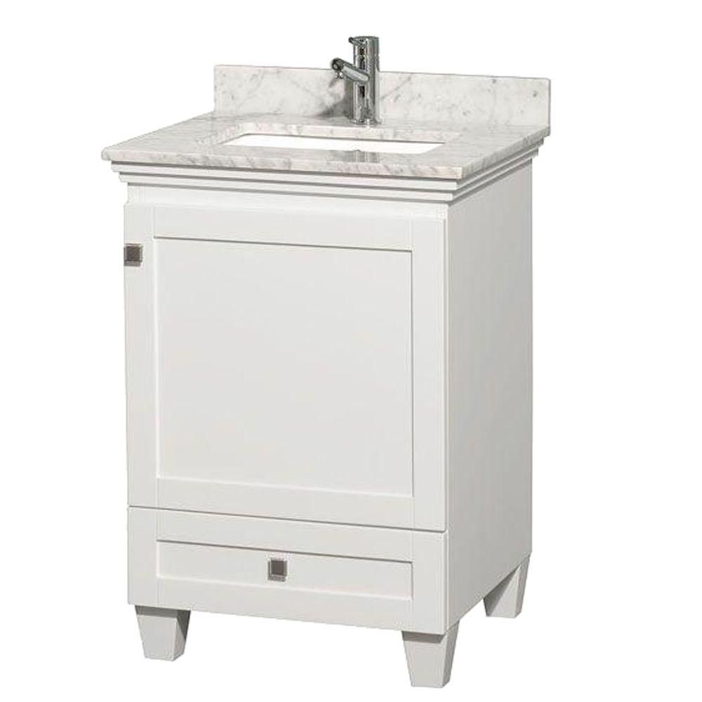 Acclaim Vanity in White Finish with Top in Carrara White and Square Sink