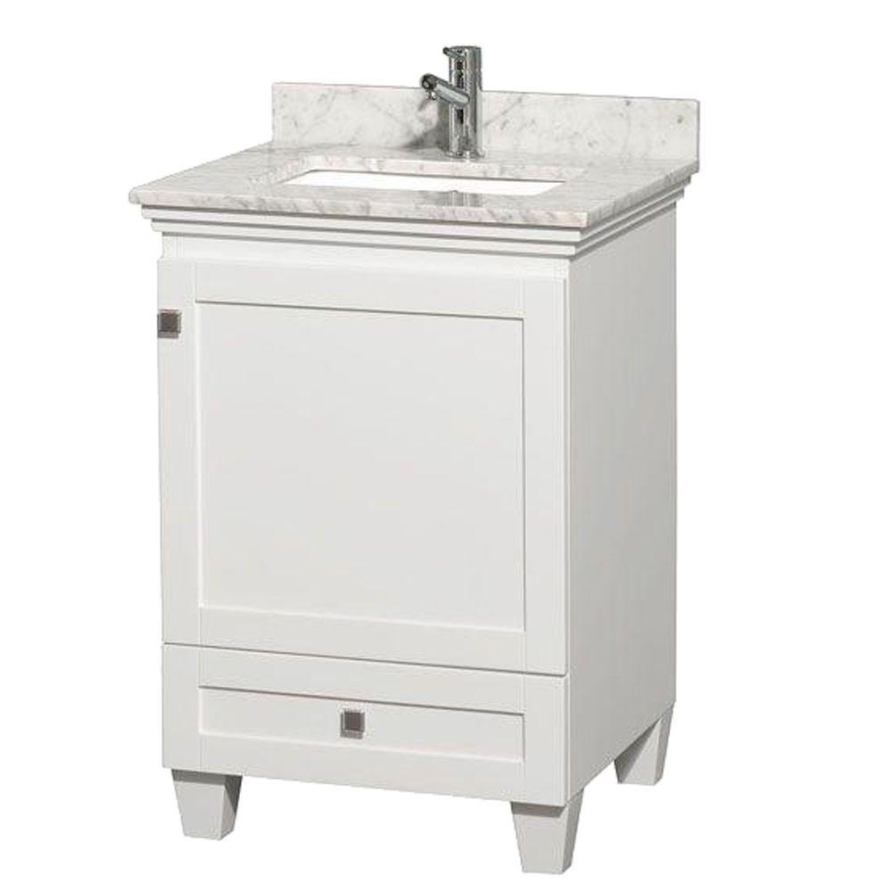 Meuble Acclaim blanc simple avec revêtement blanc Carrare, évier carré et sans miroir