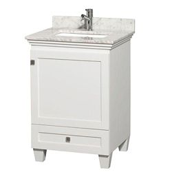 Wyndham Collection Meuble Acclaim blanc simple avec revêtement blanc Carrare, évier carré et sans miroir