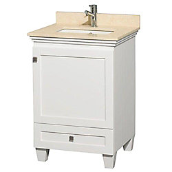 Wyndham Collection Acclaim 24-inch W 1-Drawer 1-Door Freestanding Vanity in White With Marble Top in Beige Tan