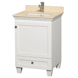 Wyndham Collection Meuble Acclaim simple blanc avec revêtement ivoire, évier carré et sans miroir