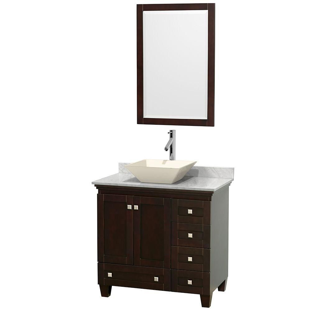 Wyndham Collection Acclaim 36-inch W 5-Drawer 2-Door Freestanding Vanity in Brown With Marble Top in White With Mirror