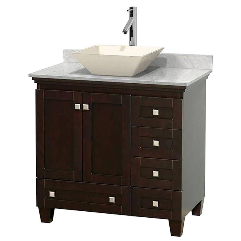 Acclaim 36-inch W Vanity in Espresso with Top in Carrara White and Bone Sink