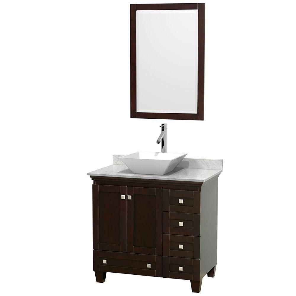 Acclaim 36-inch W Vanity in Espresso with Top in Carrara White, White Sink and Mirror