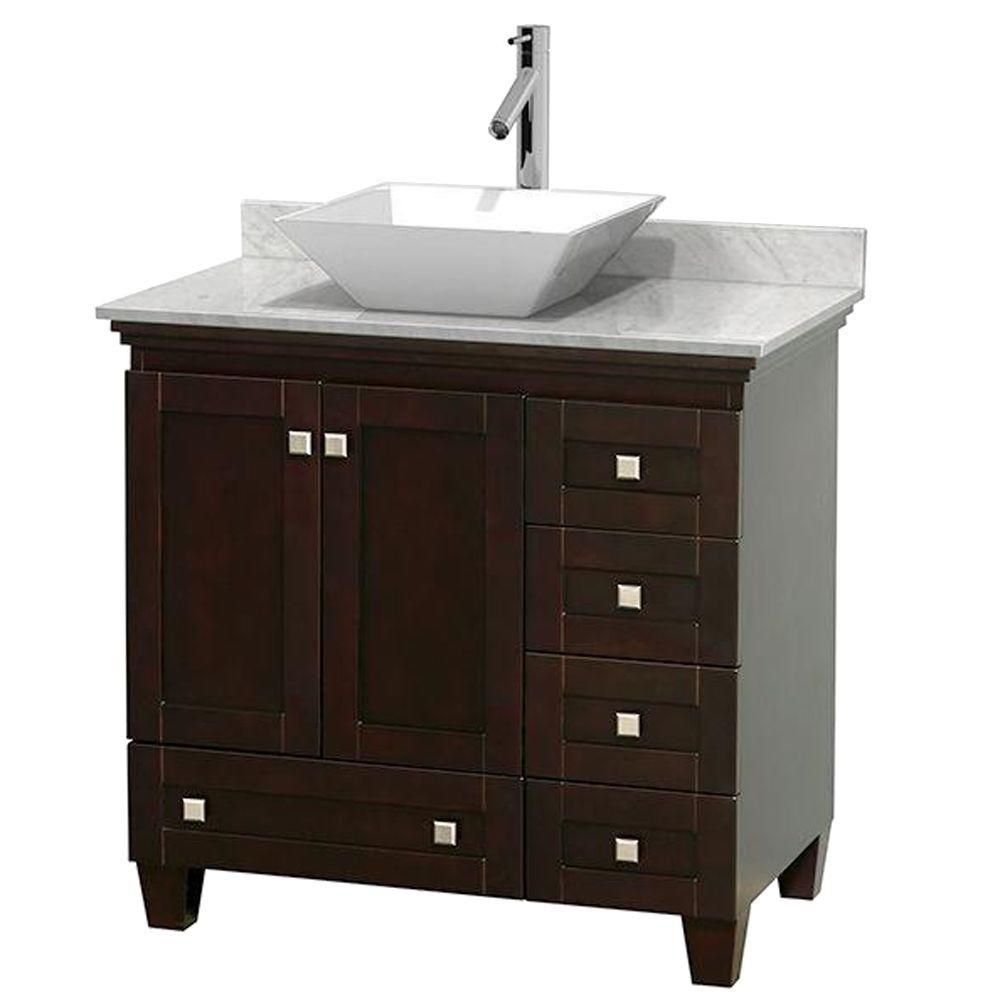Acclaim 36-inch W Vanity in Espresso Finish with Top in Carrara White and Sink
