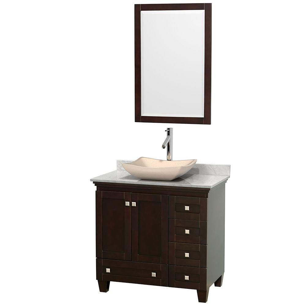 Acclaim 36-inch W Vanity in Espresso with Top in Carrara White, Ivory Sink and Mirror