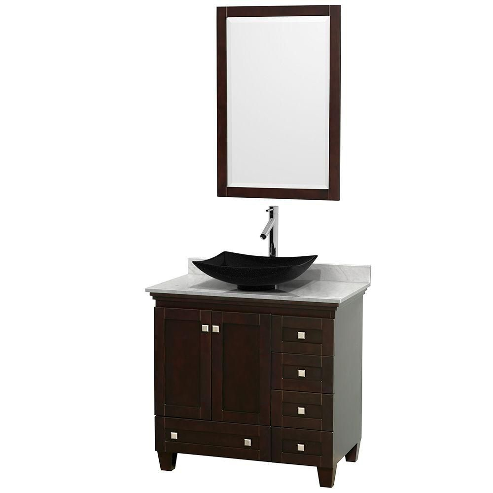 Acclaim 36 po Meuble simple espresso avec revêtement blanc Carrare, évier noir et miroir
