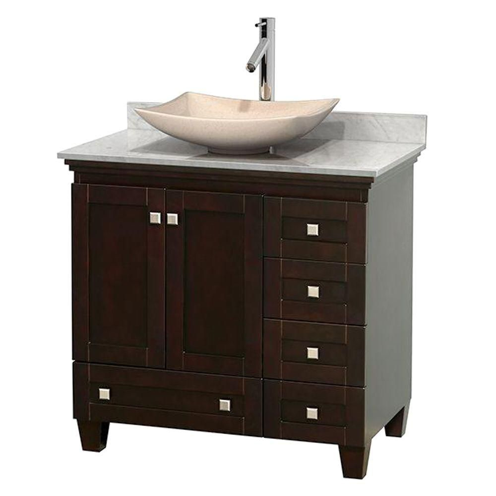 Wyndham Collection Acclaim 36-inch W 5-Drawer 2-Door Freestanding Vanity in Brown With Marble Top in White
