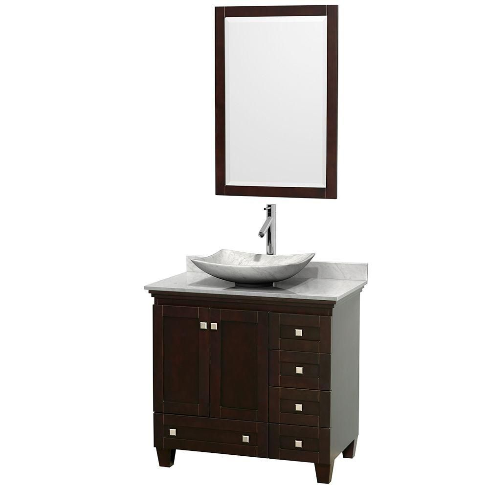Acclaim 36-inch W Vanity in Espresso with Top in Carrara White and White Carrara Sink