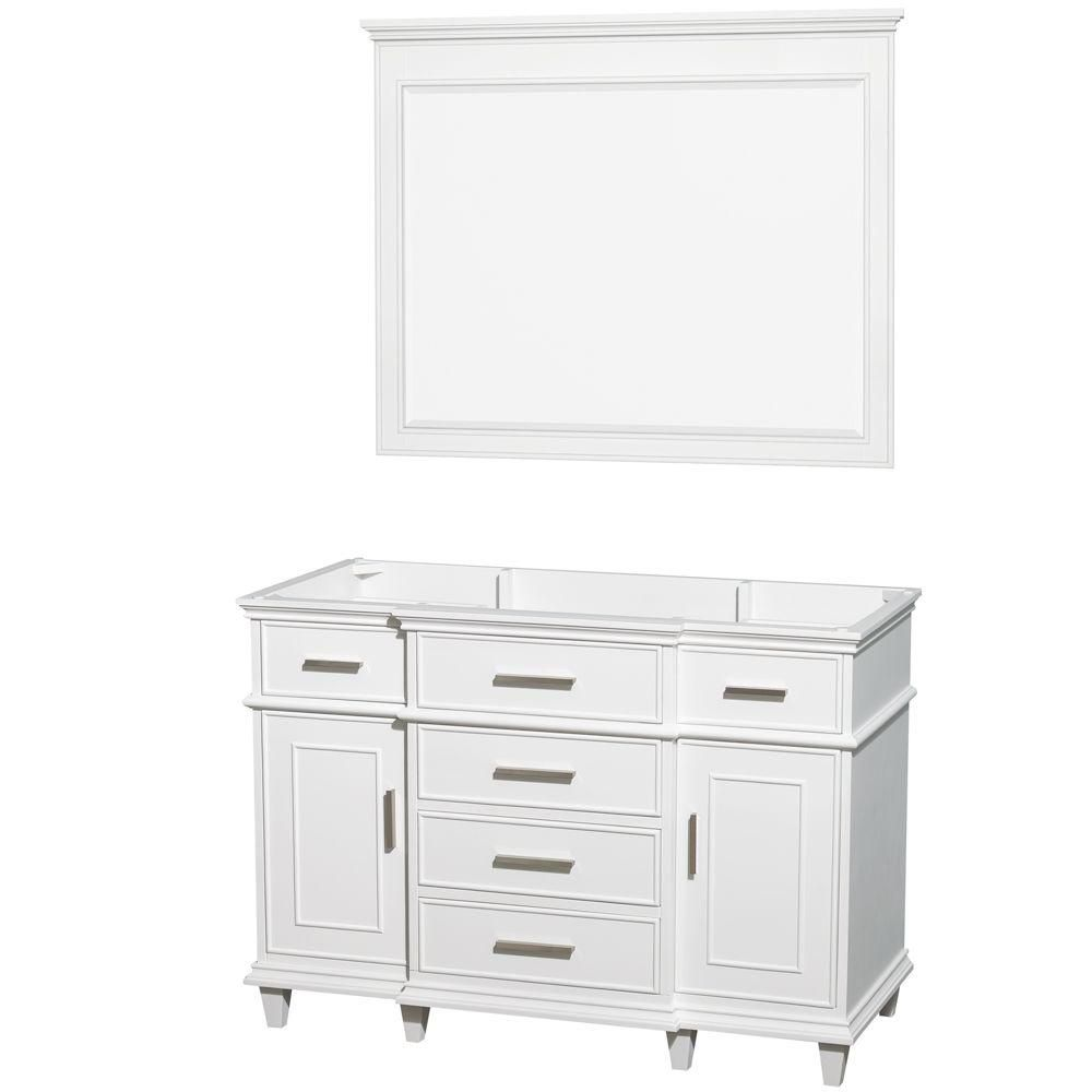 Berkeley 48-Inch  Vanity Cabinet with Mirror in White