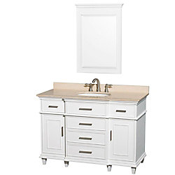 Wyndham Collection 48-inch W 5-Drawer 2-Door Vanity in White With Marble Top in Beige Tan With Mirror