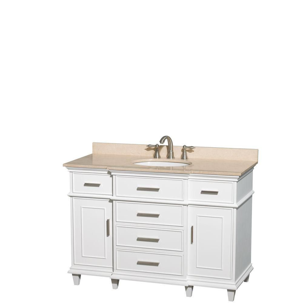 Berkeley 48-inch W Vanity in White with Marble Top in Ivory and Oval Sink
