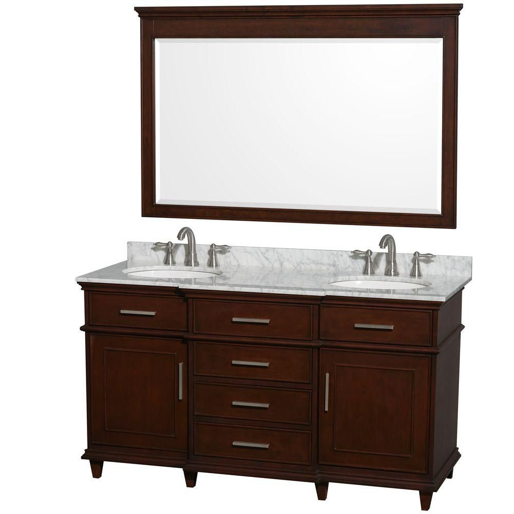 Berkeley 60-inch W Vanity in Dark Chestnut with Marble Top in Carrara White, Oval Sinks and Mirro...