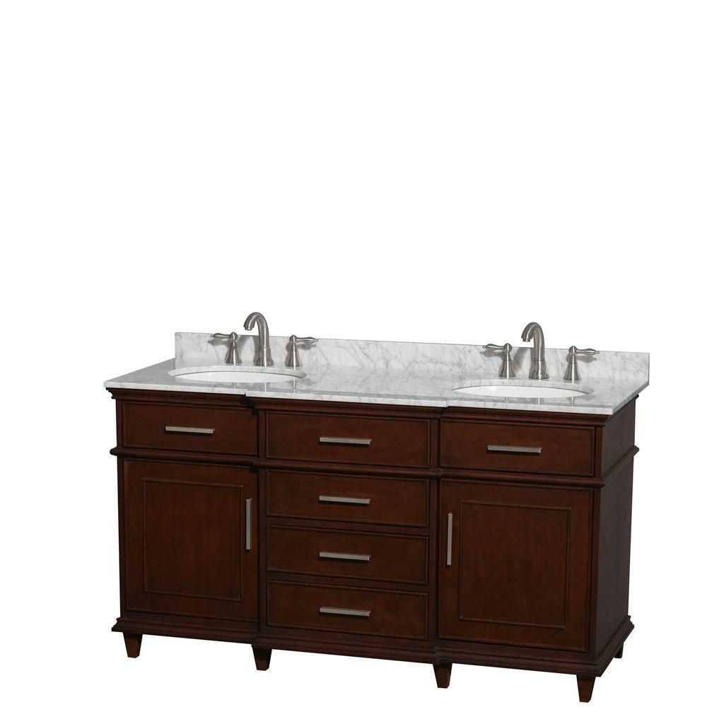 Wyndham Collection Berkeley 60-inch W 4-Drawer 2-Door Vanity in Brown With Marble Top in White, Double Basins