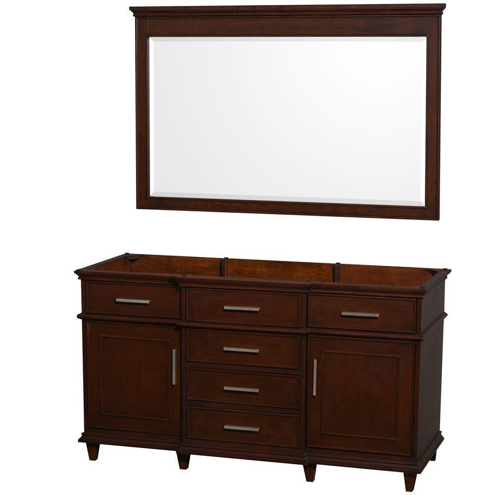 Wyndham Collection Berkeley 60-Inch  Vanity Cabinet with Mirror in Dark Chestnut