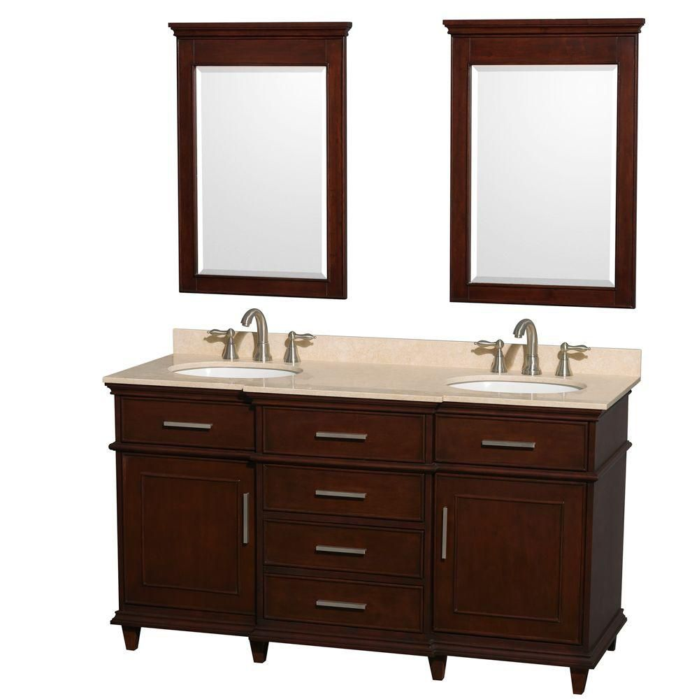 Berkeley 60-inch W Double Vanity in Dark Chestnut with Marble Top in Ivory, Oval Sinks and Mirror...