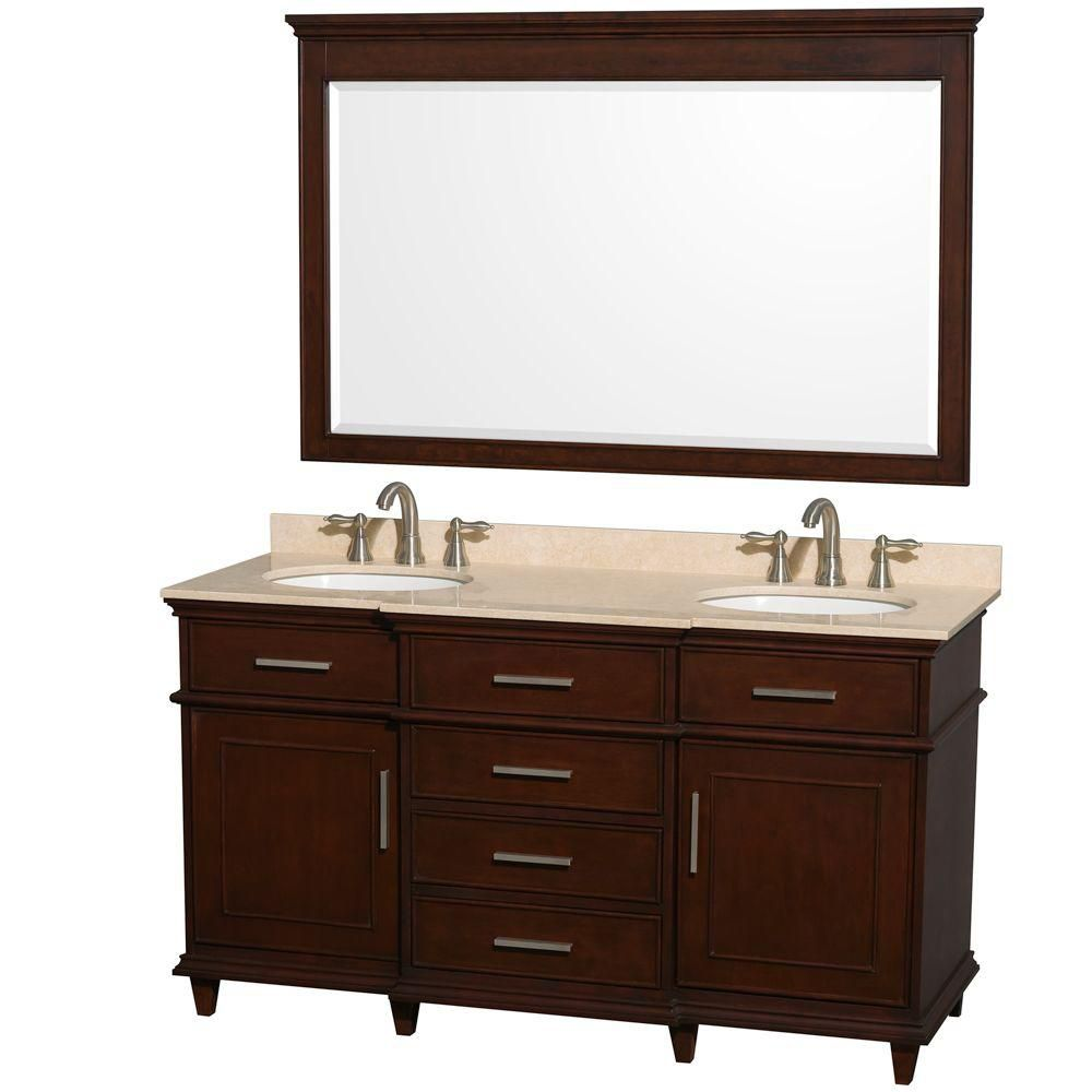 Berkeley 60-inch W Double Vanity in Dark Chestnut with Marble Top, Oval Sinks and 56-inch Mirror