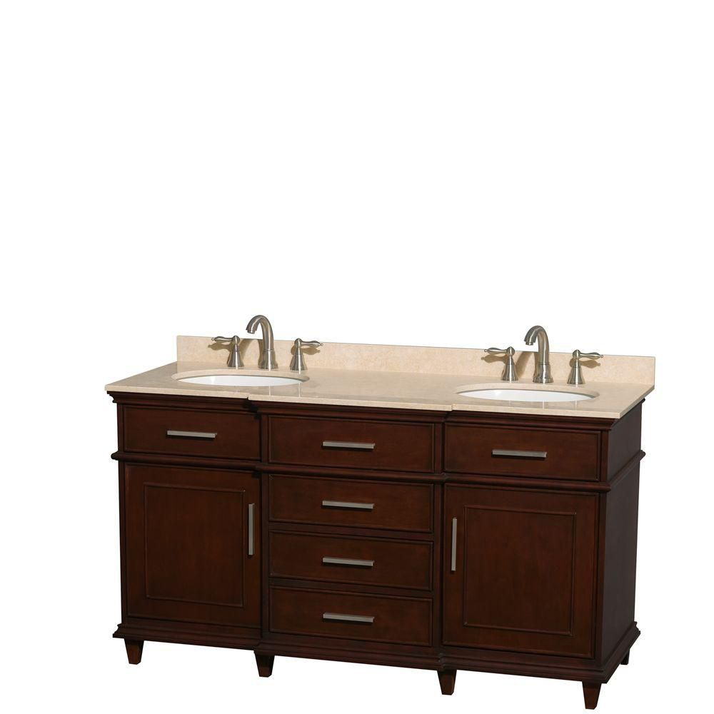 Berkeley 60-inch W Double Vanity in Dark Chestnut with Marble Top in Ivory and Oval Sinks