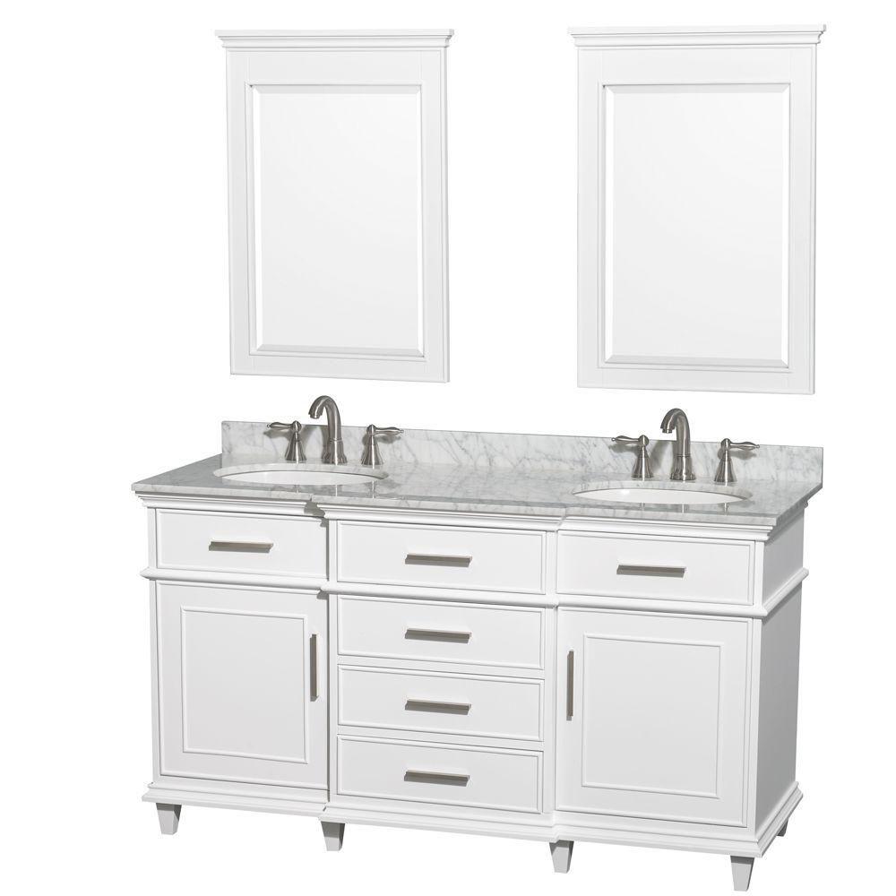 Berkeley 60 po Meuble blanc dbl. et revêtement en marbre blanc Carrare, éviers ovales et miroirs