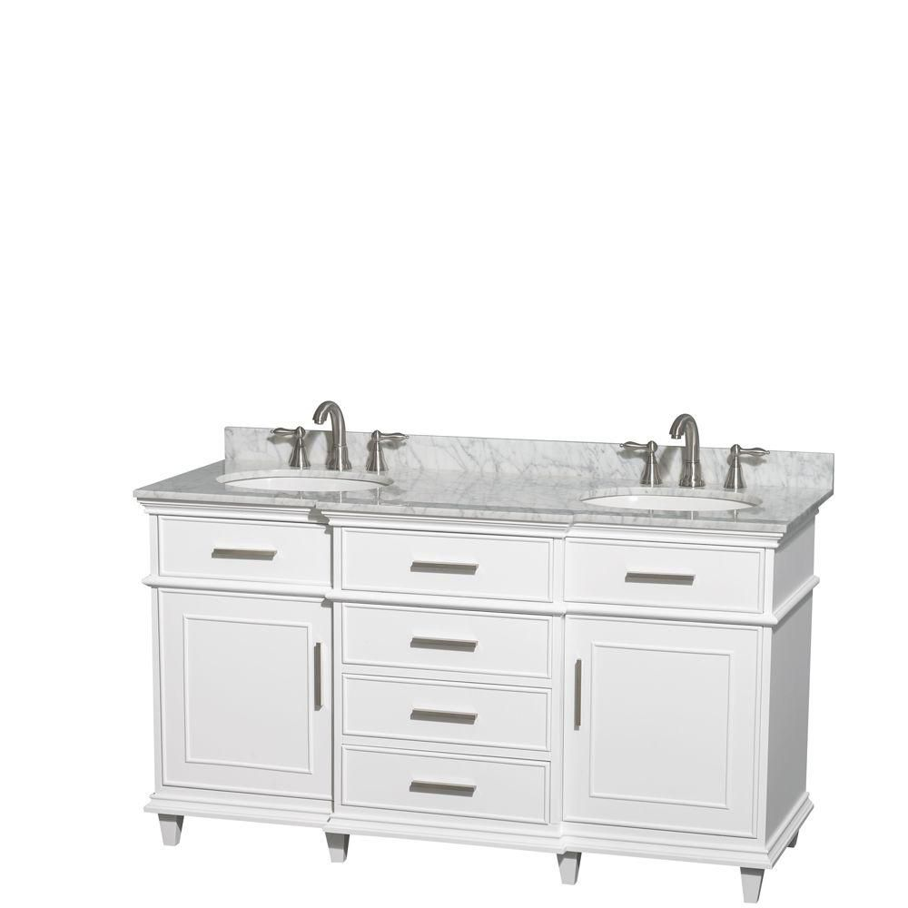 Berkeley 60-inch W Double Vanity in White with Marble Top in Carrara White and Oval Sinks