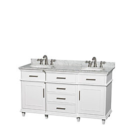 Wyndham Collection Berkeley 60-inch W 4-Drawer 2-Door Vanity in White With Marble Top in White, Double Basins